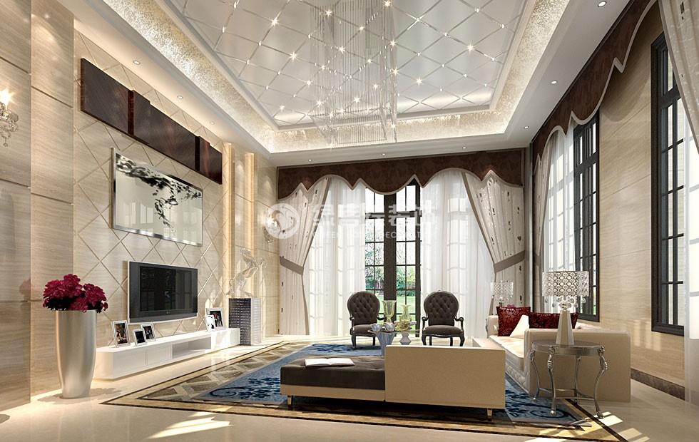 """本案别墅装饰设计主人是位事业成功,有着辉煌成就和温馨的家庭氛围、优秀的人脉关系,别墅任何地点都当做主人的信息发布地,让设计的生命因为使用价值而得以延续和演变,而这种延续则需要设计师与主人互动产生。室内装饰细节的延续和现代表现的设计,使建筑更深层次的具象化,体现出环保理念与施工、创新技术的结合,当代环保设计与空间环境下升华,融入了现行智能化家居设备和环保空气处理系统,使室内空气与大自然更""""香静"""",巧妙的构建出空间舒适生活的新环境。"""